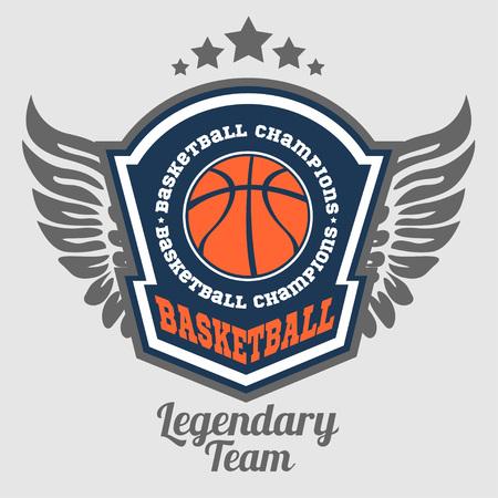 バスケット ボール選手権 - ベクトル紋章 t シャツ、プリント、バッジ  イラスト・ベクター素材