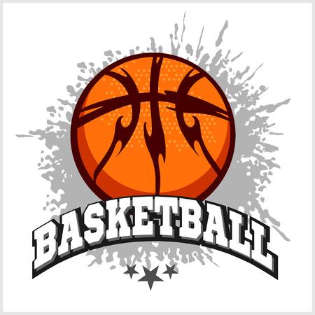 canestro basket: emblema di pallacanestro per le magliette Stampa su uno sfondo chiaro - vettore stock.
