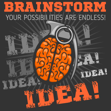 Idea -  Brain distortion from grenade. Vector stock illustration. Illustration