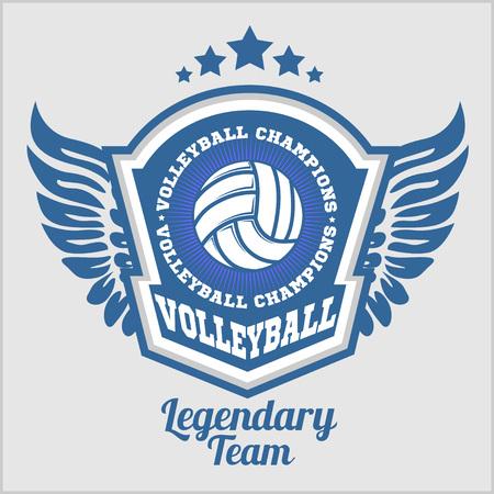 voleibol: Campeonato de voleibol con la bola - ilustración vectorial.