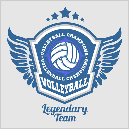 volleyball: Volleyball championship   with ball - vector illustration.