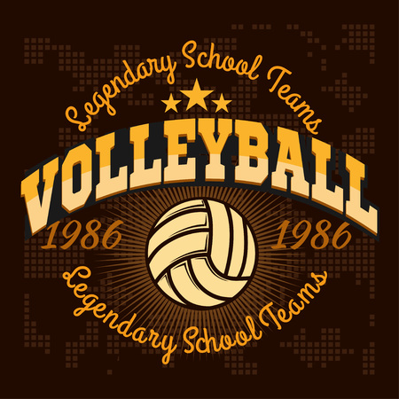 Volleyball championship   with ball. Vector sport badge for tournament or championship.