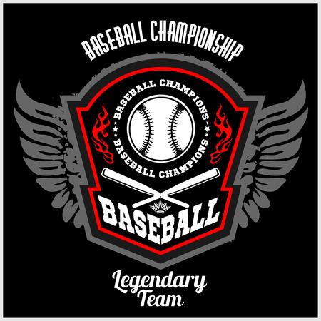 softball player: Vintage baseball label and badge. Vector illustration.