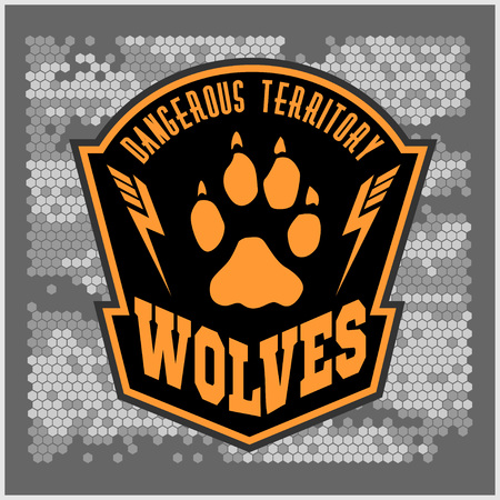 animal fight: Wolves - military label, badges and design elements. Street fighting club and Security badge with wolf, foot tracks  and inscriptions Wolves. Stock Photo