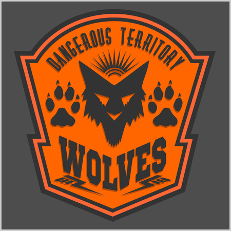 wolf: Wolves - military label, badges and design elements. Street fighting club and Security badge with wolf, foot tracks  and inscriptions Wolves. Stock Photo