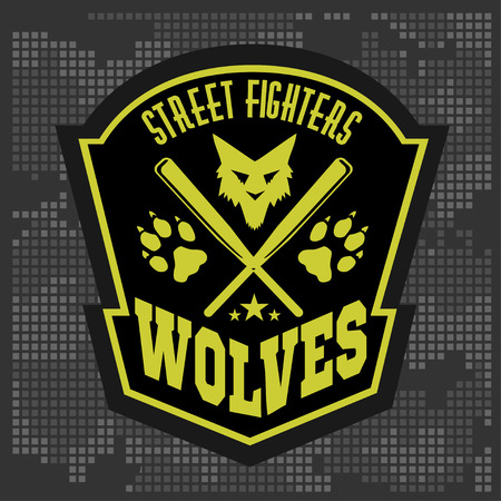 wolf face: Wolves - military label, badges and design elements. Street fighting club and Security badge with wolf, foot tracks  and inscriptions Wolves. Stock Photo