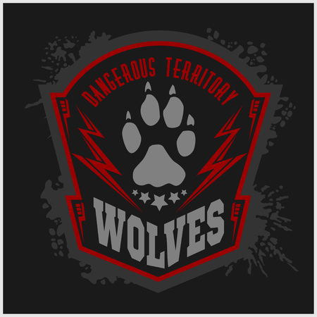 danger: Wolves - military label, badges and design elements. Street fighting club and Security badge with wolf, foot tracks  and inscriptions Wolves. Stock Photo