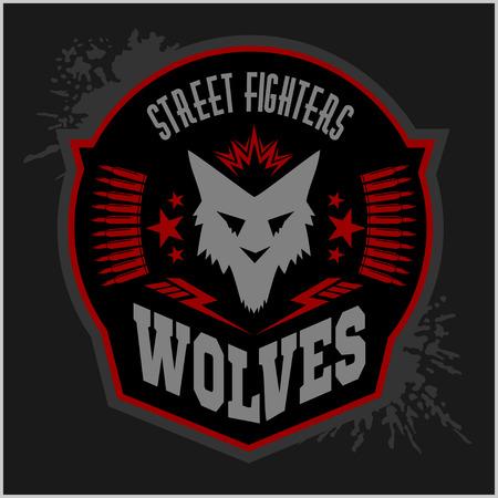 insignia: Lobos - etiqueta militar, escudos y elementos de diseño. Calle club de la lucha y la insignia de la seguridad con lobo, pistas de pie e inscripciones Lobos. Foto de archivo