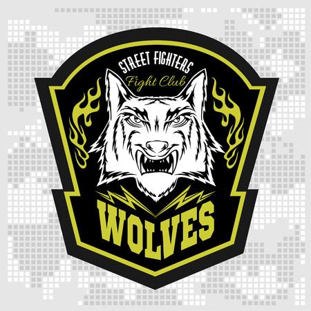 lobo feroz: Lobos - etiqueta militares, insignias y elementos de diseño. Calle con mazo y distintivo de seguridad con el lobo y las inscripciones lobos. Foto de archivo