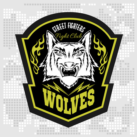 wolf face: Wolves - military label, badges and design elements. Street fighting club and Security badge with wolf and inscriptions Wolves.
