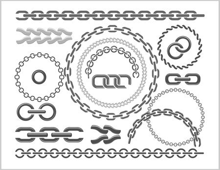 chain links: Chains set - parts and circles of chains. Vector set.