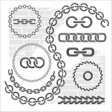 chain link: Chains set - parts and circles of chains. Vector set.