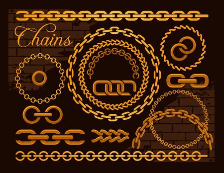 cadena rota: Cadenas de oro en un fondo oscuro. Ilustración del vector.
