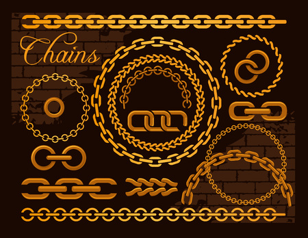 Golden chains on a dark background. Vector illustration.