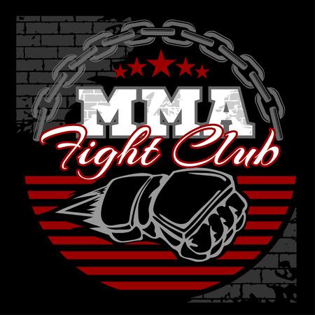MMA는 검은 배경에 무술 엠블럼 배지를 혼합. 벡터 상징. 일러스트