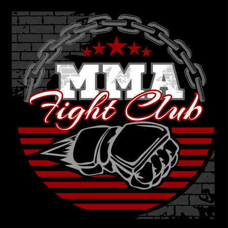 MMA mixed martial arts emblem badges on a black background. Vector emblem. Ilustrace