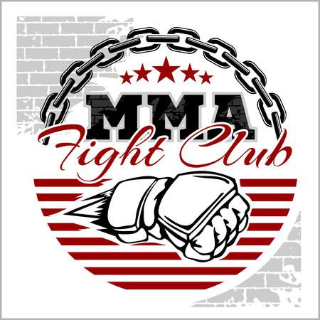 artes marciales mixtas: MMA Mixed Martial Arts insignias emblema sobre un fondo blanco. Vector emblema.
