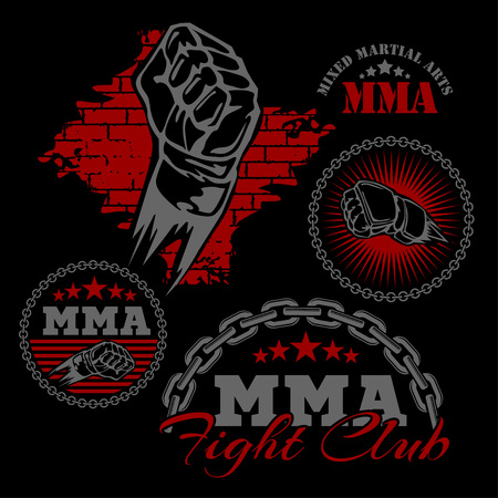 karate: MMA mixed martial arts emblem badges on a black background. Vector emblem. Illustration