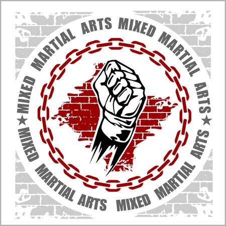 混合: MMA mixed martial arts emblem badges on a white background. Vector emblem.  イラスト・ベクター素材