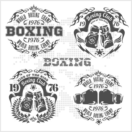 sport training: Set of vintage boxing emblems, labels, badges, Gray style. Vector illustration.