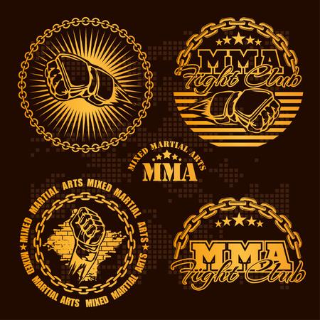 MMA mixed martial arts emblem badges - vector set. Gold style. Illustration