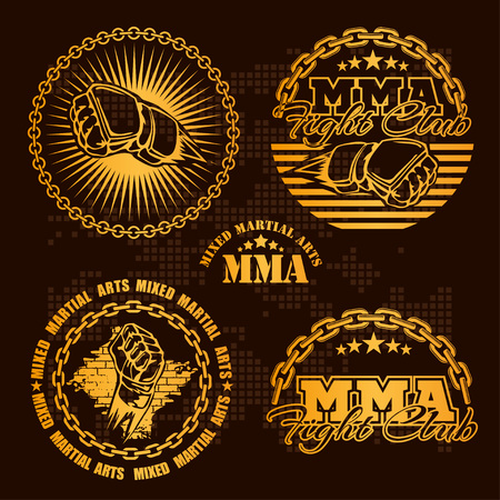 mixed martial arts: MMA mixed martial arts emblem badges - vector set. Gold style. Illustration