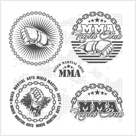 mixed: MMA mixed martial arts emblem badges - vector set. Gray style.