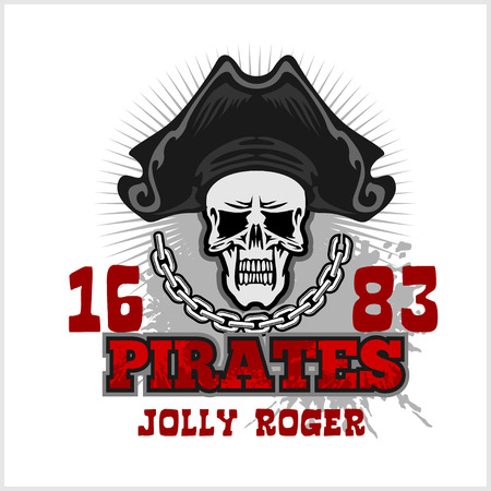 jolly roger: Skull in pirate hat - Jolly Roger  for badges, icon and t-shirt prints. Vector illustration.