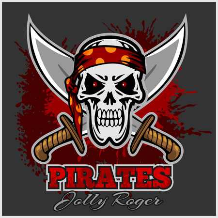 Pirate Skull à Red Bandeau avec épées croisées sur fond sombre. Banque d'images - 47858587