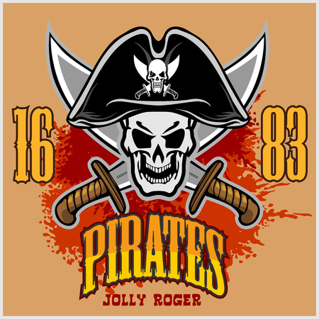 pirate skull: Pirate Skull in black hat with Cross Swords on light background.