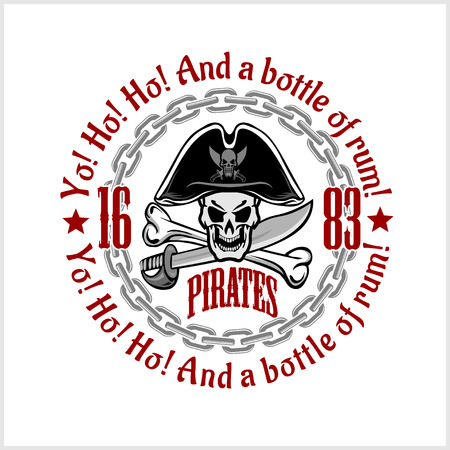 Skull in pirate hat - Jolly Roger  for badges, logos and t-shirt prints. Vector illustration.
