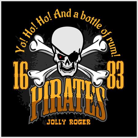 calavera pirata: Cr�neo en sombrero de pirata - Jolly Roger para copias de insignias, camiseta. Ilustraci�n del vector.