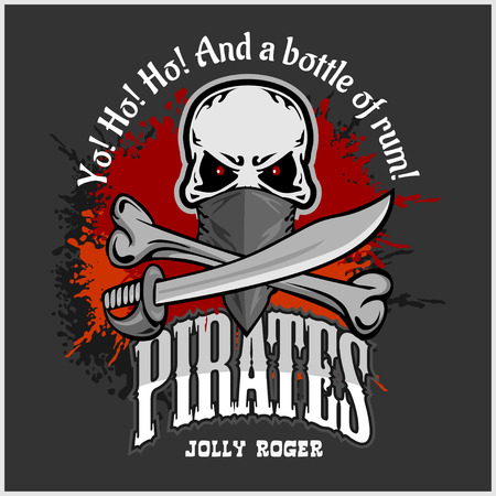 mercenary: Skull in pirate hat - Jolly Roger  for badges, t-shirt prints. Vector illustration. Illustration