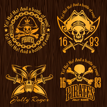 calavera pirata: Etiquetas Pirata conjunto - diseño del vector de insignias, grabados camiseta.