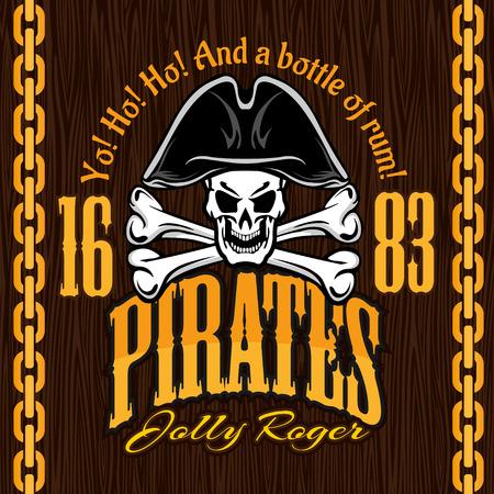 sombrero pirata: Cr�neo en sombrero de pirata - vector de dise�o de placas, grabados camiseta.