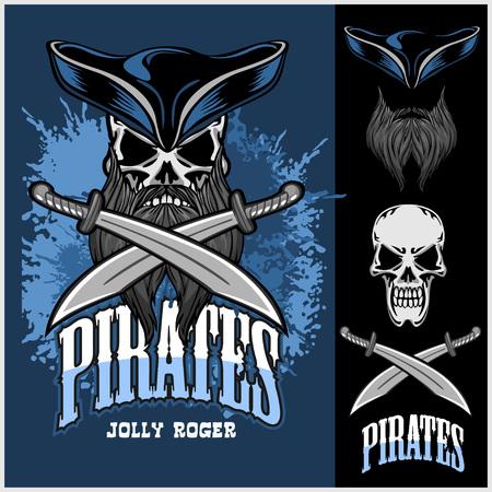 vector skull danger sign: Pirate Skull in hat with Cross Swords on dark background.