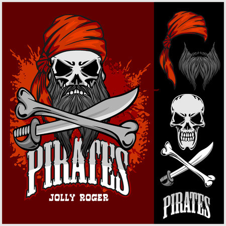 pirate skull: Pirate Skull in Red Headband with Cross Swords on dark background. Vectores