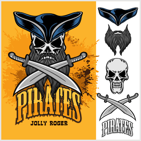 pirate skull: Pirate Skull in hat with Cross Swords on light background. Vectores