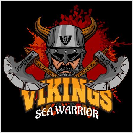 vikingo: Vikingos set - guerrero vikingo y cruzaron ejes sobre fondo oscuro