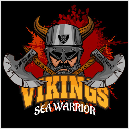 viking: Vikings set - Viking warrior and crossed axes on dark background Illustration