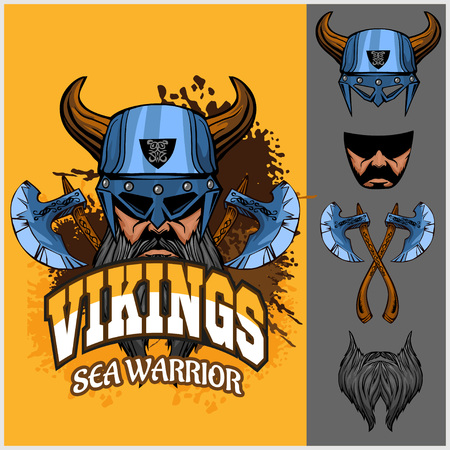 vikingo: Vikingos set - vikingo guerrero y elementos aislados sobre fondo claro