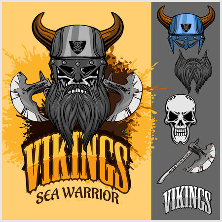 ancient ships: Vikings set - viking warrior and isolated elements on light background