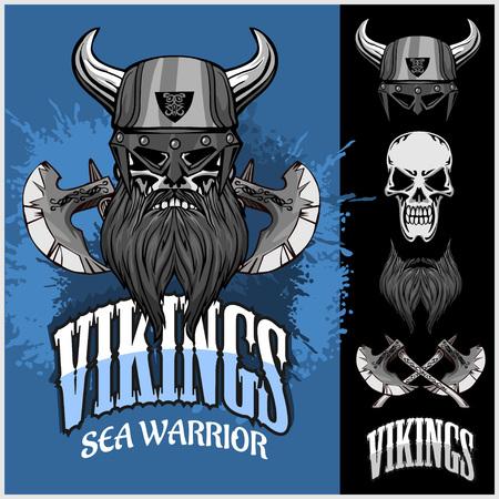vikingo: Vikingos set - vikingo guerrero y elementos aislados sobre fondo oscuro Vectores