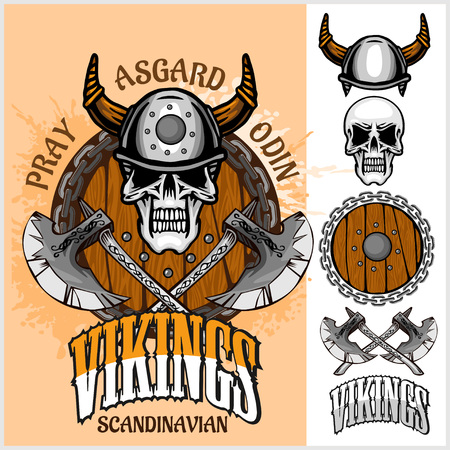 viking: Viking emblem and logos plus isolated elements for custom designs on light background