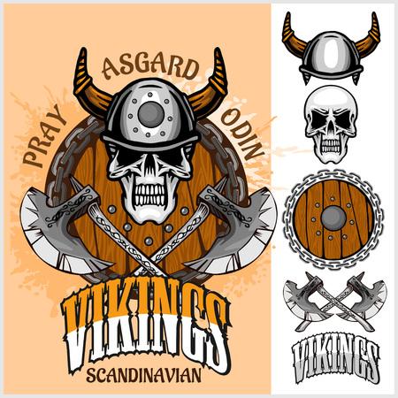 vikingo: Vikingo emblema y logotipos más elementos aislados para diseños personalizados sobre fondo claro Vectores