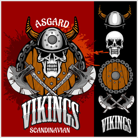 odin: Viking emblem and logos plus isolated elements for custom designs on dark background