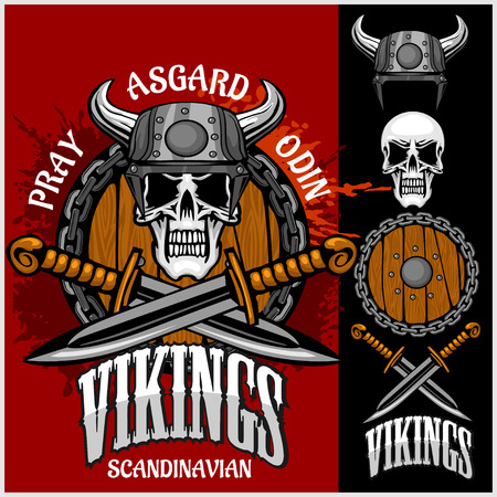 asgard: Viking emblem and logos plus isolated elements for custom designs on dark background
