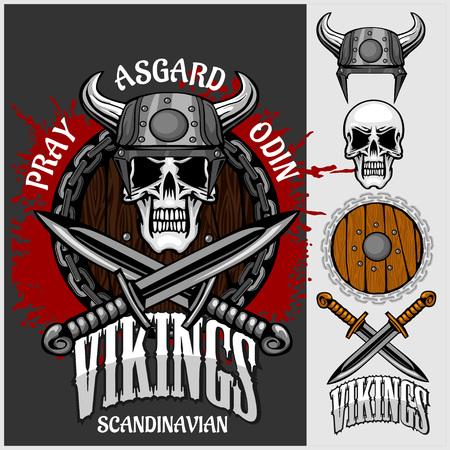 Viking emblem and logos plus isolated elements for custom designs on dark background