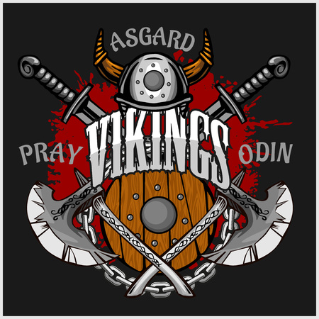 vikingo: Vikingo emblema y logotipos m�s elementos aislados para dise�os personalizados sobre fondo oscuro