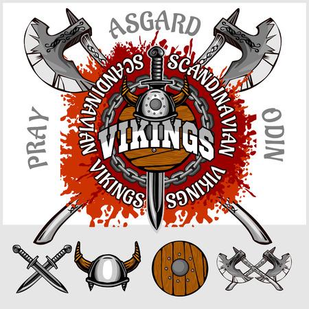 Viking embleem en logo's plus geïsoleerde elementen voor aangepaste ontwerpen op lichte achtergrond